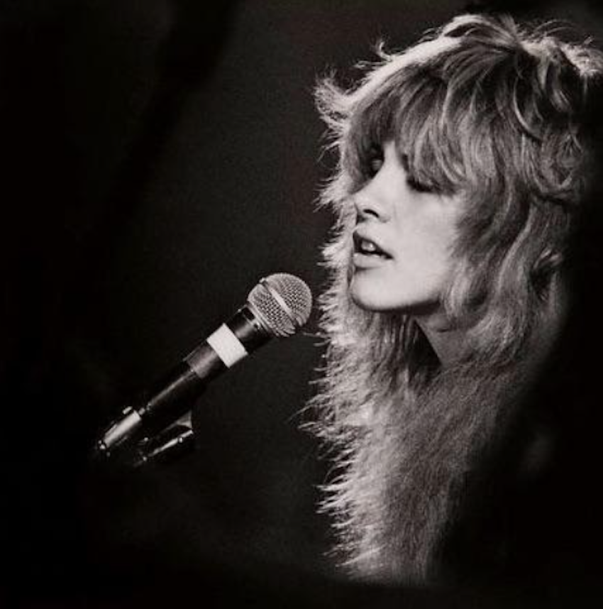 Stevie Nicks, 1976.  The feathers have feathers.